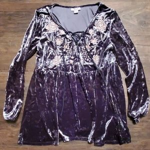 Style & Co Velvet Embroidered Top